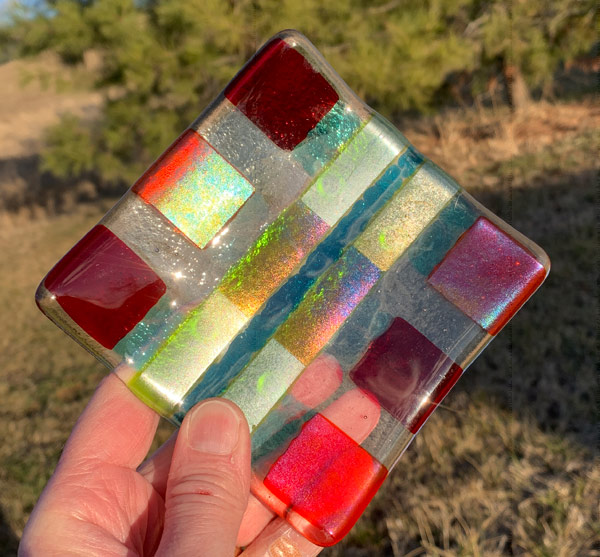 Color Spot fused glass dish by Janet Crosby