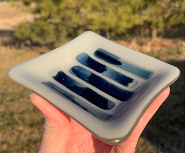Ocean and Mountains fused glass dish by Janet Crosby