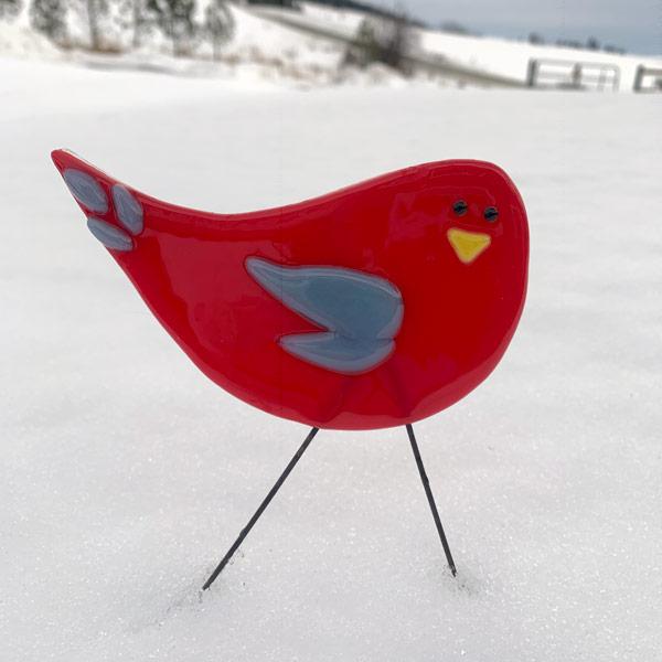 Garden Bird - Red & Blue by Janet Crosby