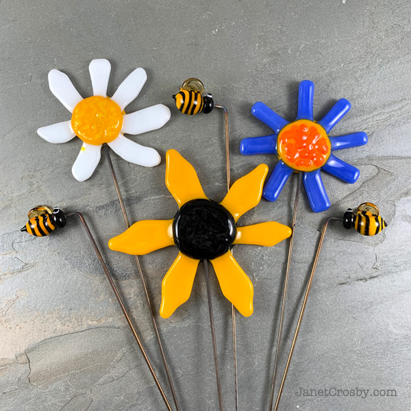 Flower Bee Garden Stakes by Janet Crosby