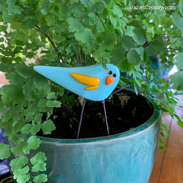 Garden Bird - Mini Bluebird in a houseplant