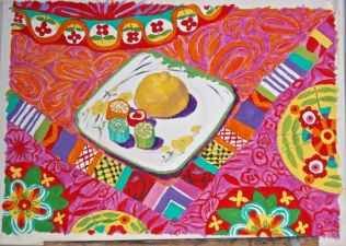 Janet E Davis, Still life with lemon and rock, acrylics & oil pastel on sized paper, February 2014.