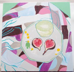 Janet E Davis, Half a kiwi and a fig halved, stage 4, acrylics on canvas, March 2014.