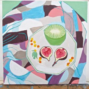 Janet E Davis, Half a kiwi and a fig halved - stage 5, acrylics on canvas, March 2014.