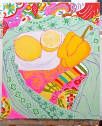 Janet E Davis, One and a half lemons and a pepper stage 10, acrylics on canvas, March 2014.