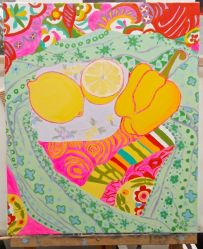 Janet E Davis, One and a half lemons and a pepper stage 12, acrylics on canvas, March 2014.