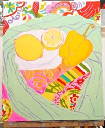 Janet E Davis, One and a half lemons and a pepper stage 8, acrylics on canvas, March 2014.
