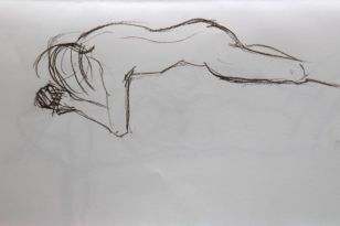 Life study - lying on front 2-minute pose.