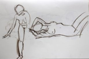 Life studies - leaning forward (left) and lying on back (right) - 2-minute poses.