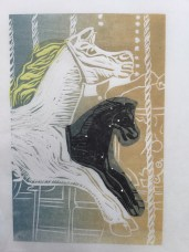 Carousel horse in blue & ochre ink, chîne collé in yellow & black with holographic dots tissue paper.