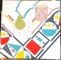 Geometric tablecloth pear mug - 6a