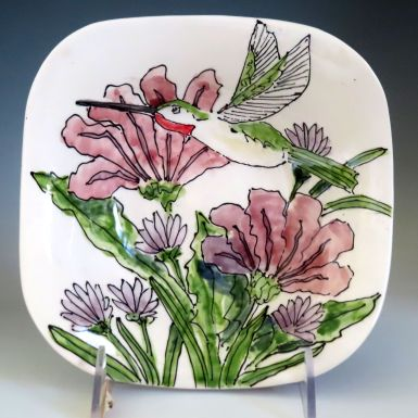 Celebration Pottery Jan Francoeur Nature Series square bowl with hummingbird