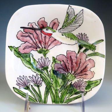 Celebration Pottery Jan Francoeur Nature Series square bowl with hummingbird