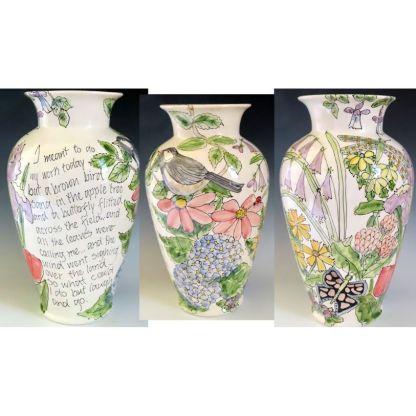 New Bern art by Jan Francoeur Celebration Pottery Large Vase