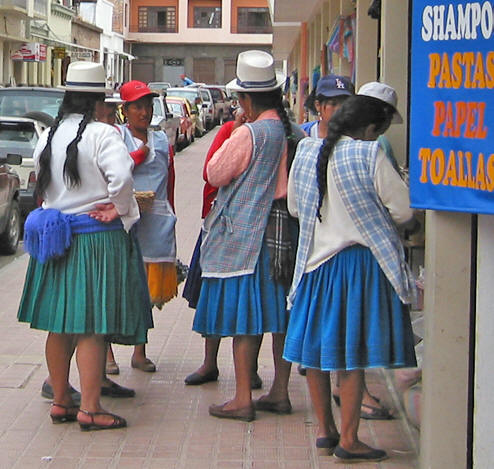 The working women (those in the Cuenca area are called Cholo and wear the distinctive white hats and colorful skirts) who I see on the streets and in the markets who are vendors selling fruits, vegetables and many other items