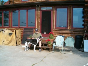 Merlin with Woody the day he left for Philadelphia. There's Molly in the doorway