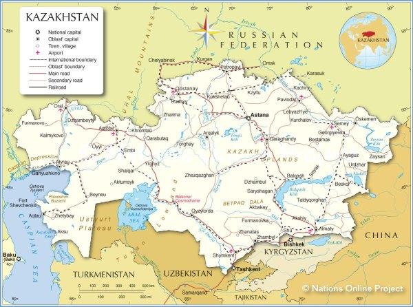 Detailed map of Kazakhstan, JanetGivens.com