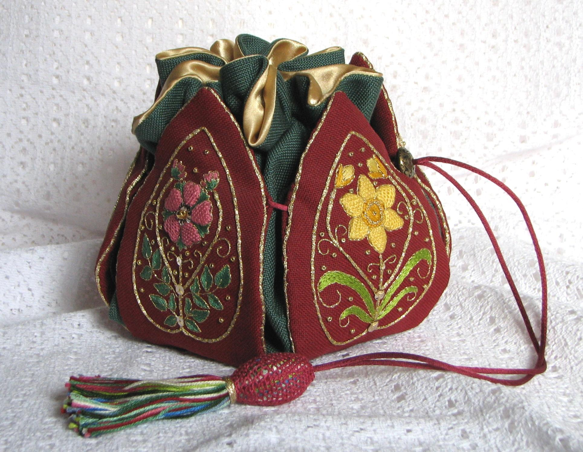 A stumpwork embroidery 'petal bag'