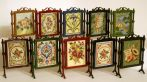 10 firescreen designs, all suitable for doll's houses, stitched on 32 count silk gauze, and available as kits from www.janetgranger.co.uk
