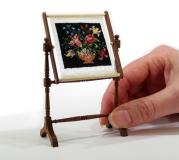 This 'Flower Bowl' needlework stand is stitched on 40 count silk gauze, from a kit. Available from www.janetgranger.co.uk