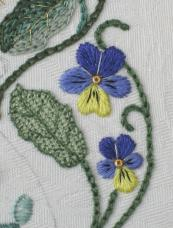 Pansies on the Bride's Bag