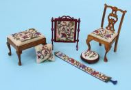 A 'Tree of life' design, stitched on various doll's house items - all available as kits from www.janetgranger.co.uk