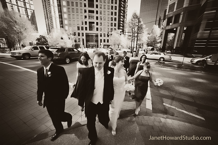 wedding party on 14th and Peachtree