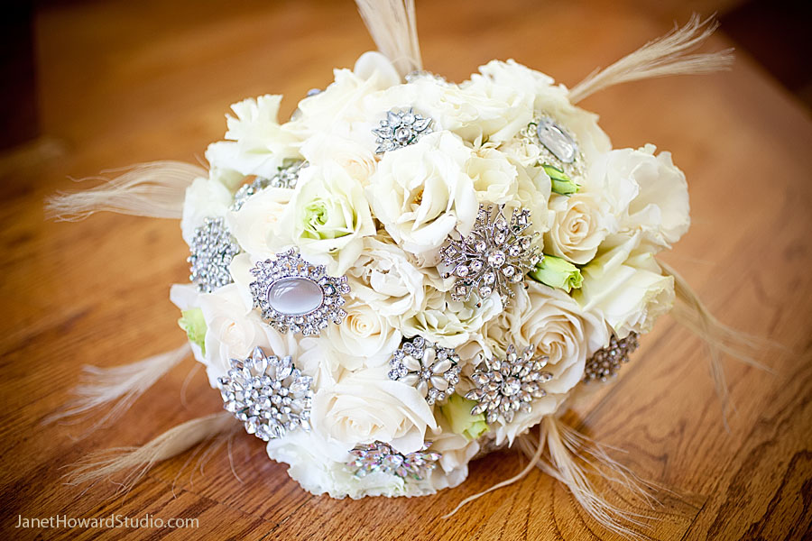 White + crystal + feather bridal bouquet