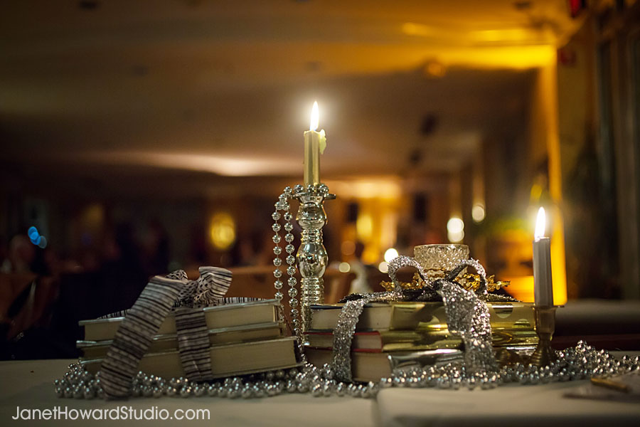 Book and candle tablescape