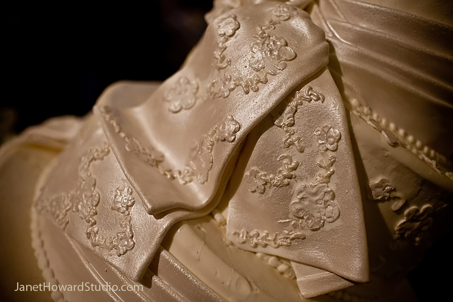 Cake with detail from bride's gown