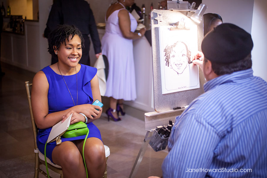 Wedding reception caricature artist