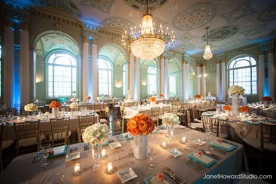 Biltmore Ballrooms wedding reception decor orange and blue