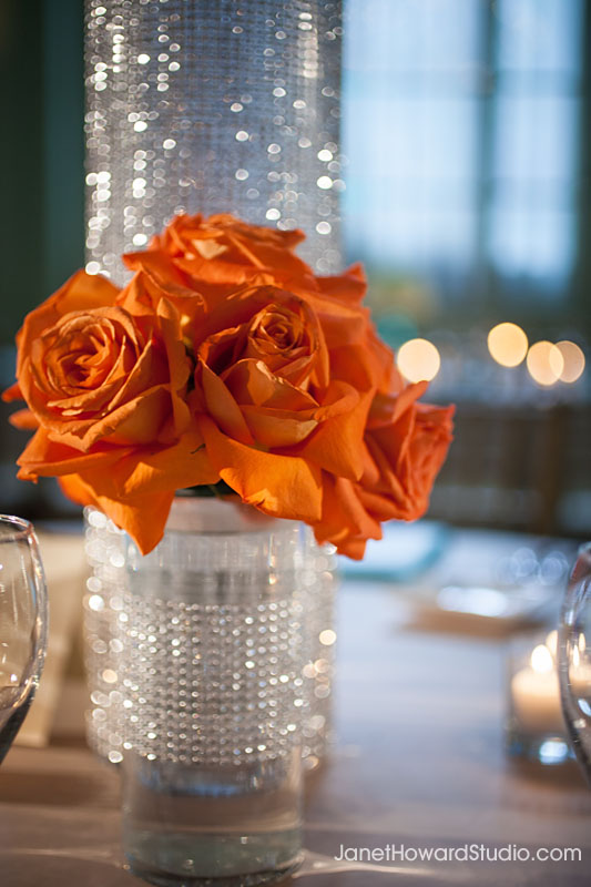 Orange crystal centerpiece wedding reception decor