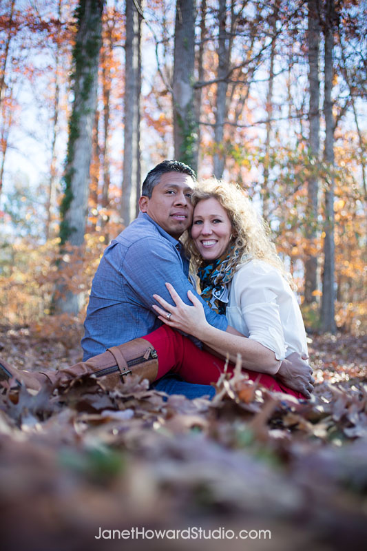 Engagement photo in leaves