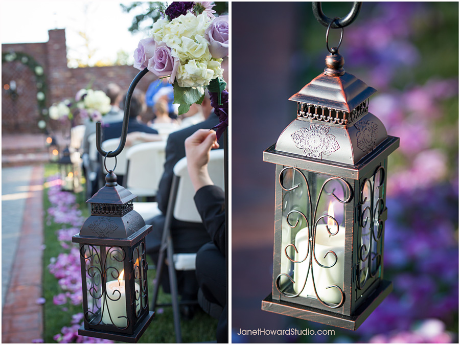Aisle decor with lanterns and purple petals