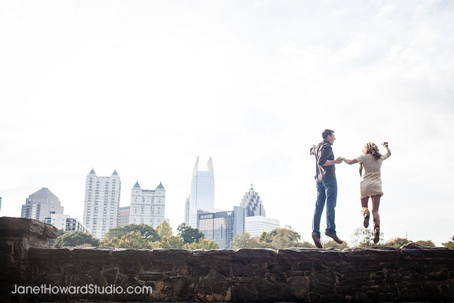View of Atlanta Piedmont Park Engagement Session