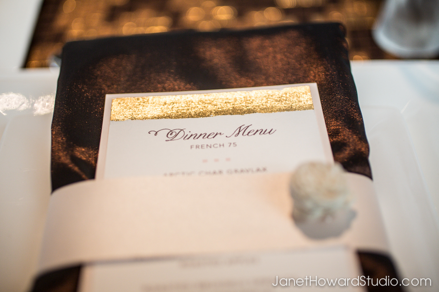Gold leaf on menu