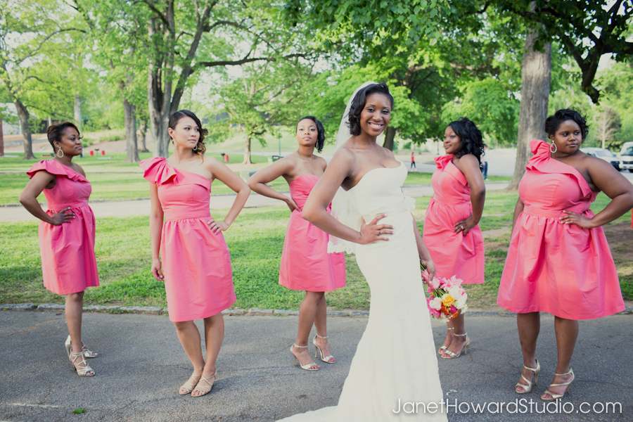 Wedding party photos in Piedmont Park