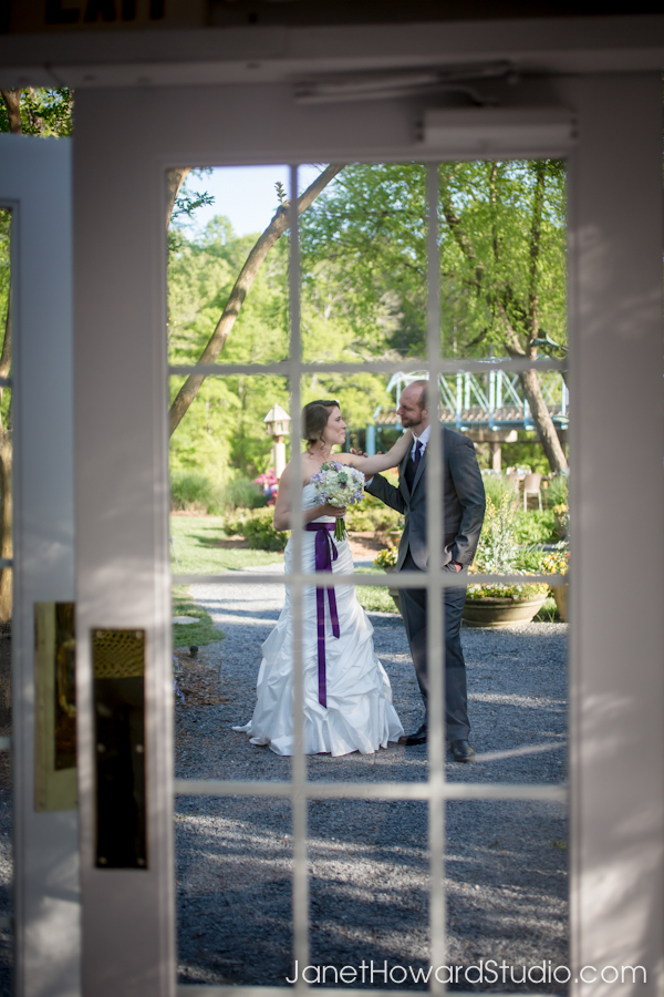 Bride and groom before their entrance to the reception