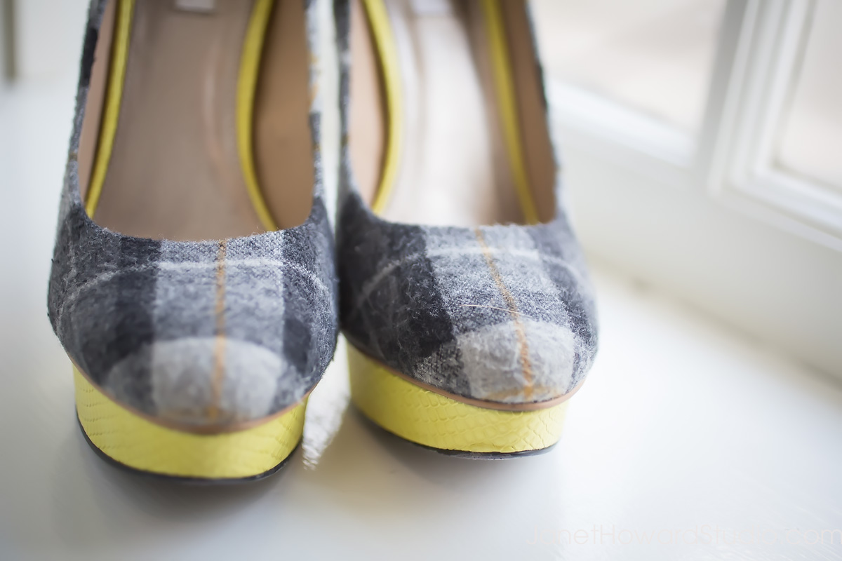 yellow and grey plaid wedding shoes