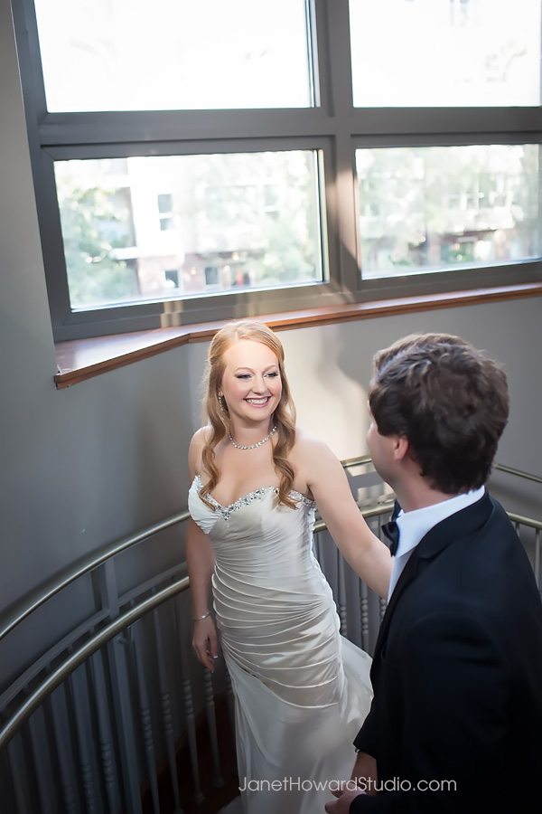 Bride and Groom first look at Renaissance Midtown Atlanta