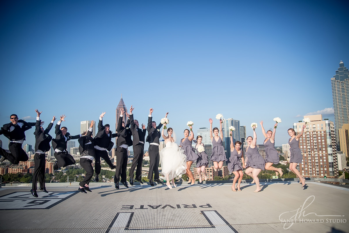 Wedding party on helipad at Ventanas