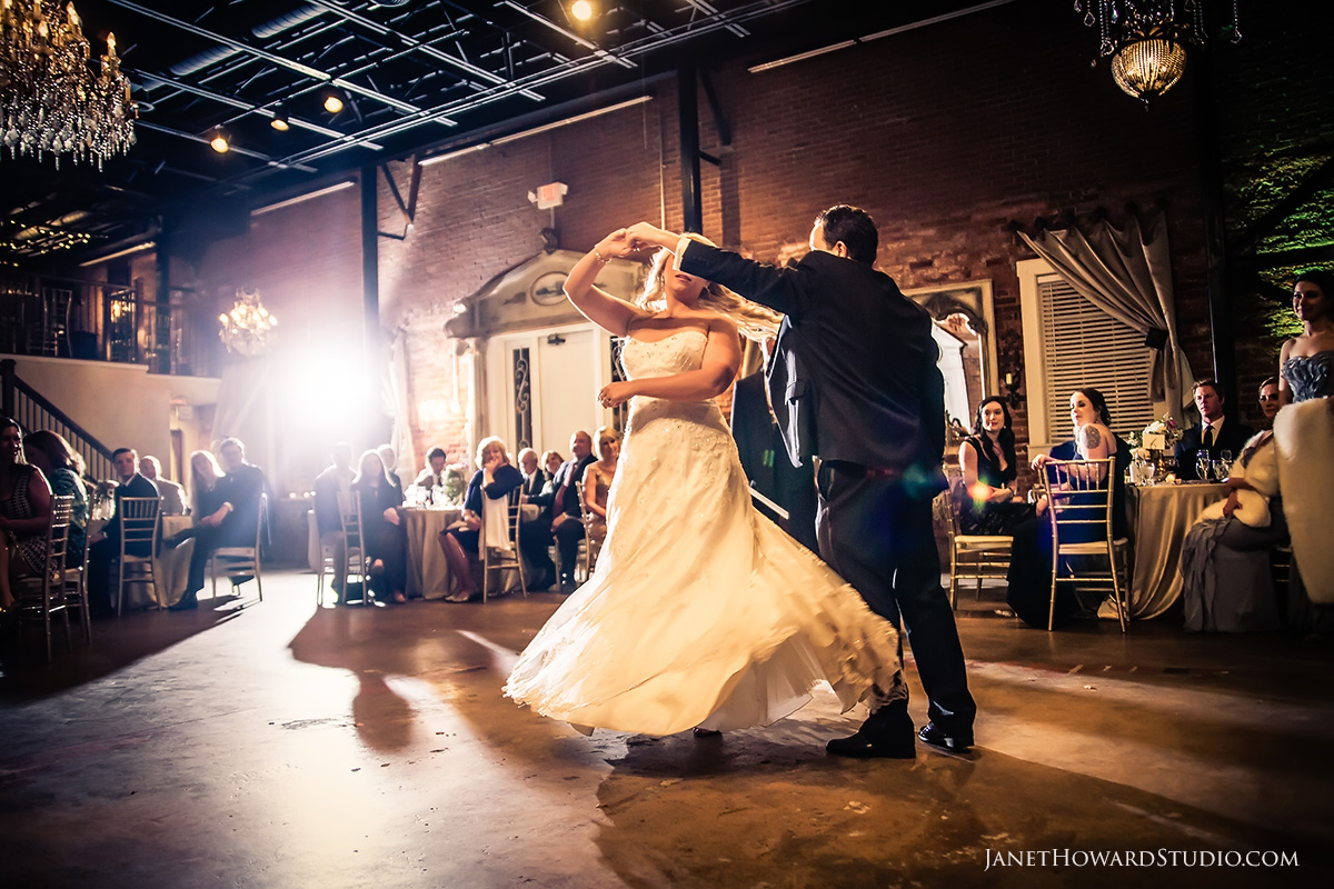 bride + groom first dance at Roswell Historic Cottage