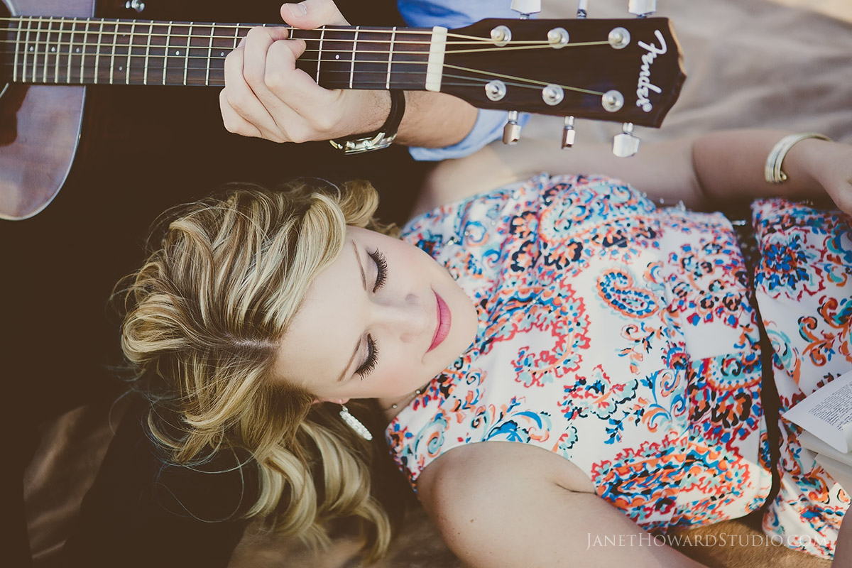 Engagement Session with guitar and book
