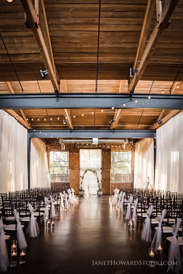 The Foundry at Puritan Mill wedding ceremony decor