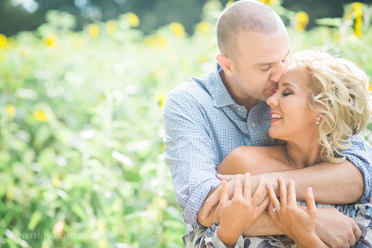 Sunflower field engagement portraits