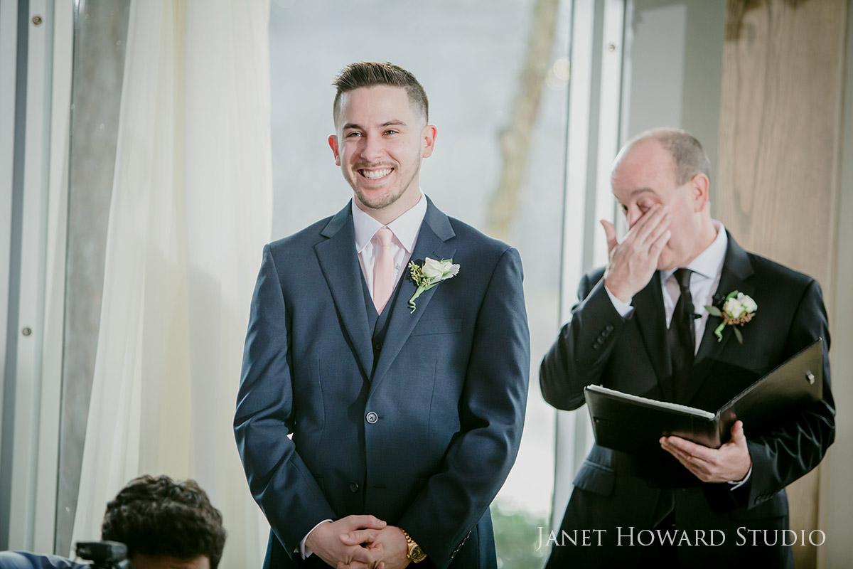 Emotional Groom sees bride