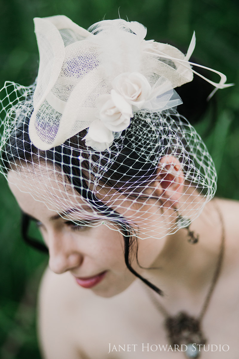 Pirate hat and birdcage veil for pirate themed bride