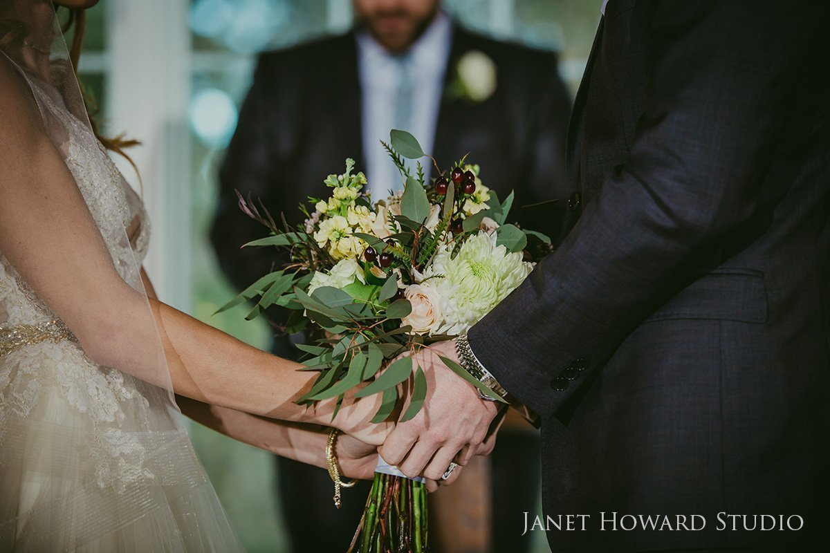 Rustic barn wedding ceremony