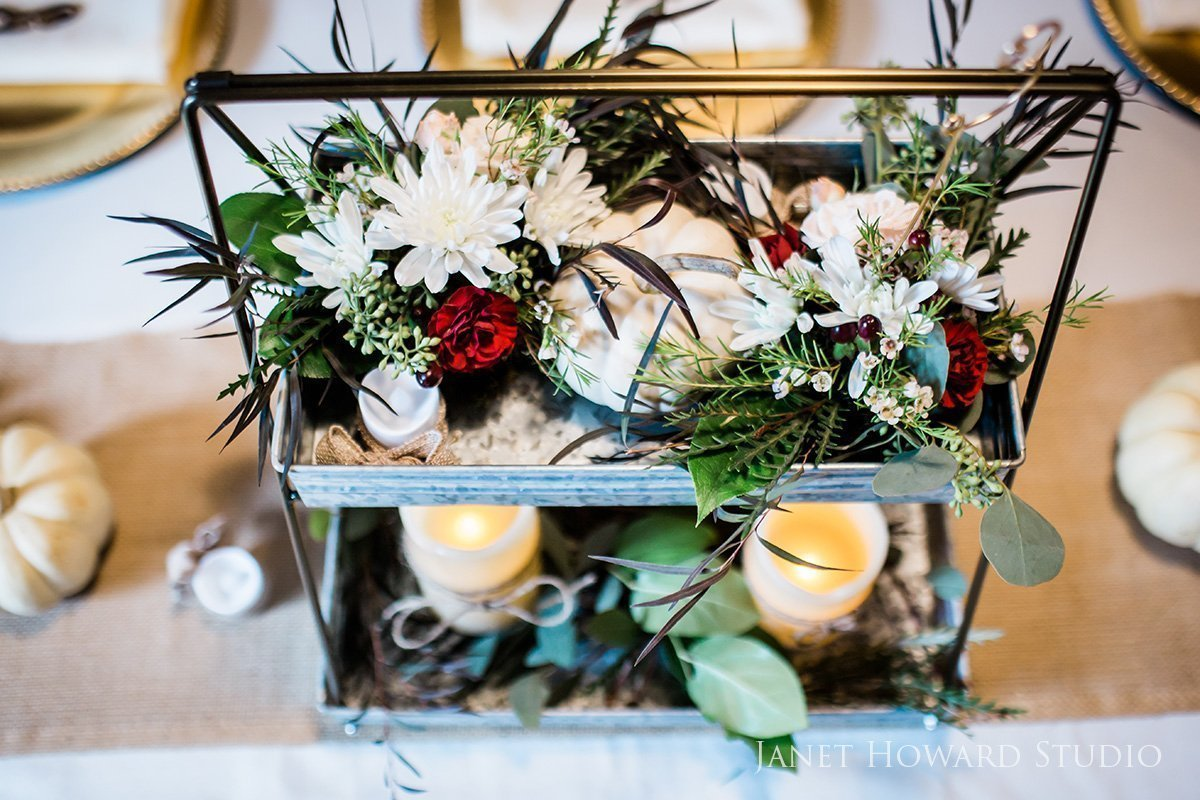 barn wedding floral centerpiece